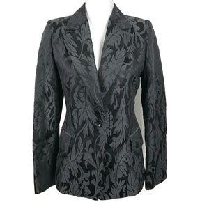 MaxMara Brocade Floral Navy Blazer Jacket 8